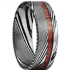 COI Titanium Black Silver Damascus Ring With Wood-1087