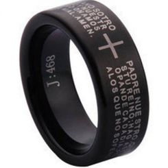 COI Black Tungsten Carbide Cross Scripture Ring-TG1097