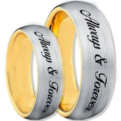 COI Tungsten Carbide Gold Tone Silver Always & Forever-TG1115