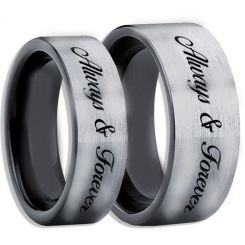 COI Tungsten Carbide Black Silver Always & Forever Ring-TG1142