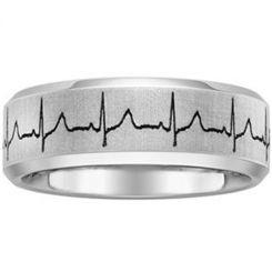 *COI Tungsten Carbide Heartbeat Step Edges Ring-TG1355