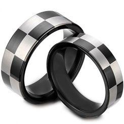 COI Tungsten Carbide Checkered Flag Pipe Cut Flat Ring-TG1418A
