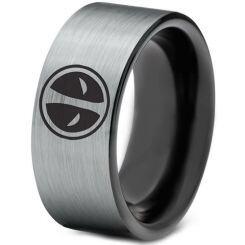 COI Titanium Black Silver DeadPool Pipe Cut Flat Ring-1437
