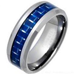 COI Titanium Beveled Edges Blue Carbon Fiber Ring-JT2721