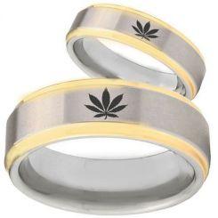 COI Tungsten Carbide Marijuana Leaf Step Edges Ring-TG1445BB