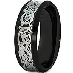 COI Black Tungsten Carbide Dragon Beveled Edges Ring-TG1500AA