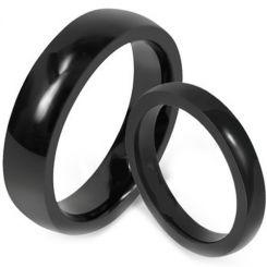 *COI Black Tungsten Carbide Dome Court Ring-TG1619