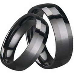 COI Black Tungsten Carbide Beveled Edges Ring-TG1647