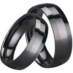 COI Black Tungsten Carbide Polished Shiny Beveled Edges Ring-TG1647