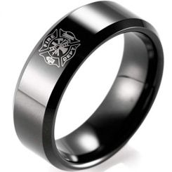 COI Black Tungsten Carbide Firefighter Beveled Edges Ring-TG165
