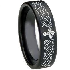 COI Black Tungsten Carbide Cross Celtic Pipe Cut Flat Ring-TG1661
