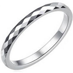 COI Tungsten Carbide Faceted Wedding Band Ring - TG1688AA