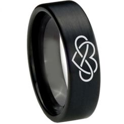 COI Black Tungsten Carbide Infinity Heart Ring-TG1821