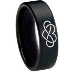 COI Black Tungsten Carbide Infinity Heart Ring-TG1821