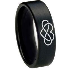 *COI Black Titanium Infinity Heart Pipe Cut Flat Ring-1821