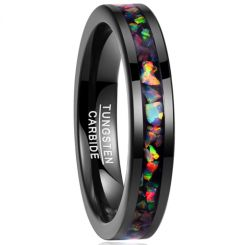 COI Black Tungsten Carbide Crushed Opal Pipe Cut Flat Ring-TG1823