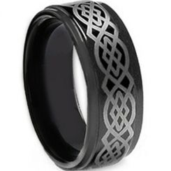 COI Black Tungsten Carbide Celtic Step Edges Ring-TG5143
