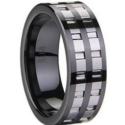 COI Black Tungsten Carbide Ring With Ceramic-TG1832(Size: US14)