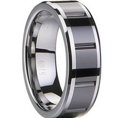 COI Black Tungsten Carbide Ring With Ceramic-TG1833(Size:US11)