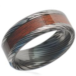 COI Black Tungsten Carbide Damascus Wood Beveled Edges Ring-TG1838