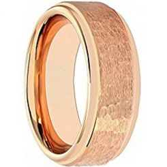 COI Rose Titanium Hammered Step Edges Ring-4040