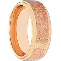 COI Rose Titanium Hammered Step Edges Ring-4040