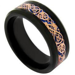 COI Tungsten Carbide Black Rose Dragon Beveled Edges Ring-TG1896