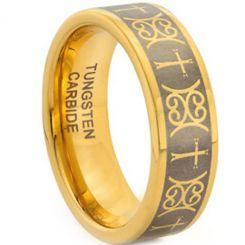 COI Gold Tone Tungsten Carbide Cross Pipe Cut Ring-TG1945