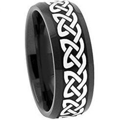 COI Black Titanium Celtic Beveled Edges Ring-1959