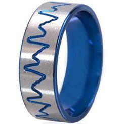 *COI Tungsten Carbide Blue Silver Heartbeat Ring-TG195
