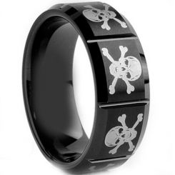 COI Black Tungsten Carbide Skull Vertical Grooves Ring-TG1980A