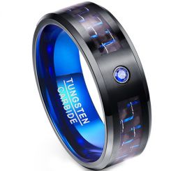 COI Tungsten Carbide Black Blue Ring With Carbon Fiber-TG1988