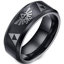 COI Black Tungsten Carbide Legend of Zelda Beveled Edges Ring-TG2061