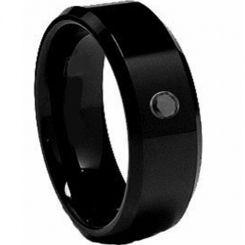 COI Black Tungsten Carbide Cubic Zirconia Ring-TG2062