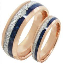 COI Rose Tungsten Carbide Meteorite Lapis Lazuli Ring-TG2077