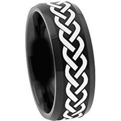 COI Black Tungsten Carbide Celtic Beveled Edges Ring-TG2116