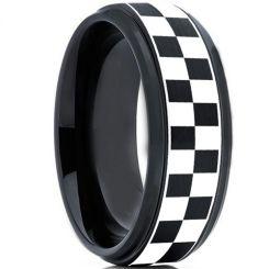 COI Tungsten Carbide Black Silver Checkered Flag Ring-TG2136
