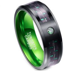 COI Tungsten Carbide Black Green Carbon Fiber Ring-TG2165