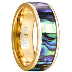 COI Gold Tone Tungsten Carbide Abalone Shell Ring-TG2191