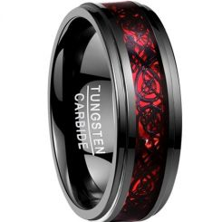COI Tungsten Carbide Black Red Dragon Step Edges Ring-TG2214