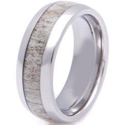 COI Black Tungsten Carbide Deer Antler Ring - TG2257(Size:US7.5)