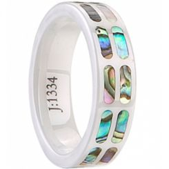 COI Ceramic Ring With Abalone Shell - TG2262(Size:US5.5/7.5/8.5)