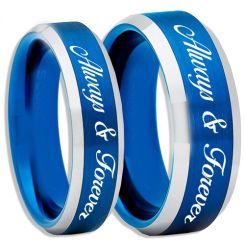 COI Tungsten Carbide Blue Silver Always & Forever Ring--TG2263