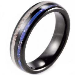 COI Black Tungsten Carbide Deer Antler & Blue Wood Ring-TG2283AA