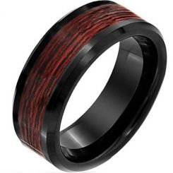 COI Black Tungsten Carbide Wood Beveled Edges Ring-TG2291