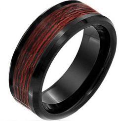 COI Black Tungsten Carbide Wood Beveled Edges Ring-TG2291
