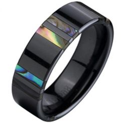 COI Black Tungsten Carbide Ring With Shell-TG2334(Size US12)