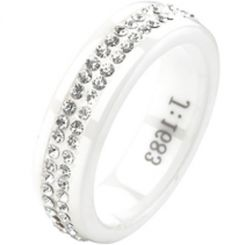 COI Ceramic Ring With Cubic Zirconia - TG2369(Size:#US6.5)