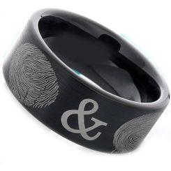 COI Black Tungsten Carbide Custom FingerPrint Flat Ring-TG2388