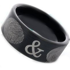COI Black Tungsten Carbide Custom FingerPrint Flat Ring-TG2388
